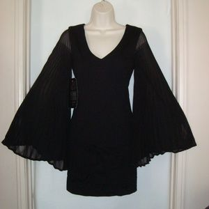 BEBE Black 'Brady' Fan Pleated Sleeves Dress NWT